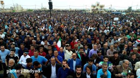 تصاویر هوایی از حماسه تاریخی مردم بهمئی در نطق سخنرانی سید محمد موحد