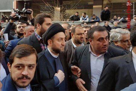 عمار حکیم رییس مجلس اعلای عراق در مراسم تشییع ایت الله هاشمی+عکس